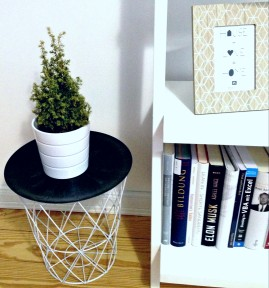 DIY SIDE TABLE WIRE BASKET- https://artcreatorblog.wordpress.com/2016/01/11/diy-side-table-wire-basket/